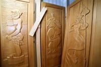 """Дверь для бани 40 х 700 х 1900 мм, массив, резная """"Нептун"""""""